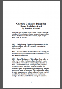 Culture Collapse Disorder, a dialogue with Bonnie Bright and Jonathan Paul Marshall excerpt from Earth, Climate, Dreams